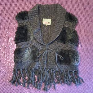 BKE Buckle Faux Fur Wool Sweater Vest